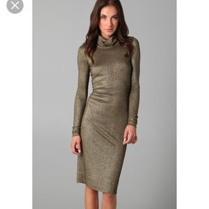 Diane von furstenberg gold cowl neck dress